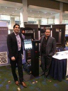 Blockchain.info legal counsel Marco Santori (left) visits the BitXatm/CryptVision booth at a trade show. Source: https://twitter.com/cryptvision
