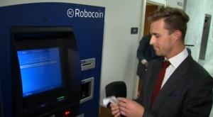 Screengrab from Yahoo!  News report, featuring Robocoin CEO Jordan Kelley.